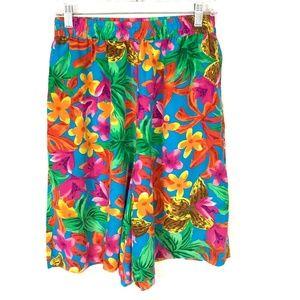 Vintage Retro Blue Floral Silk Bermuda Shorts M